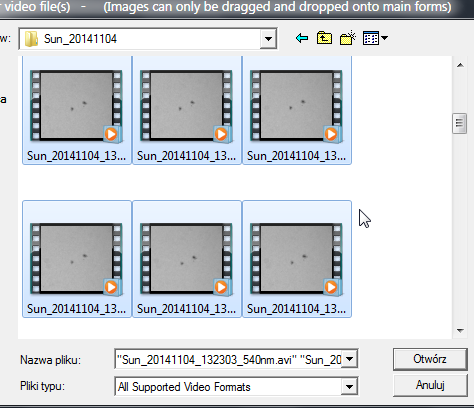 Selection of movies for processing