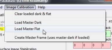 Applying the dark frame and flat field correction